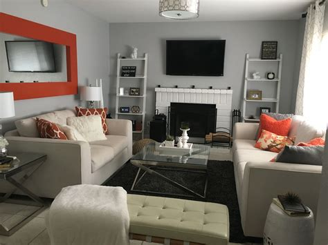 grey orange living room paint behr silver bullet