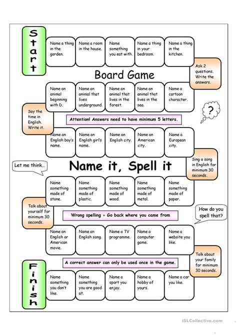 board game spell easy worksheet free esl printable