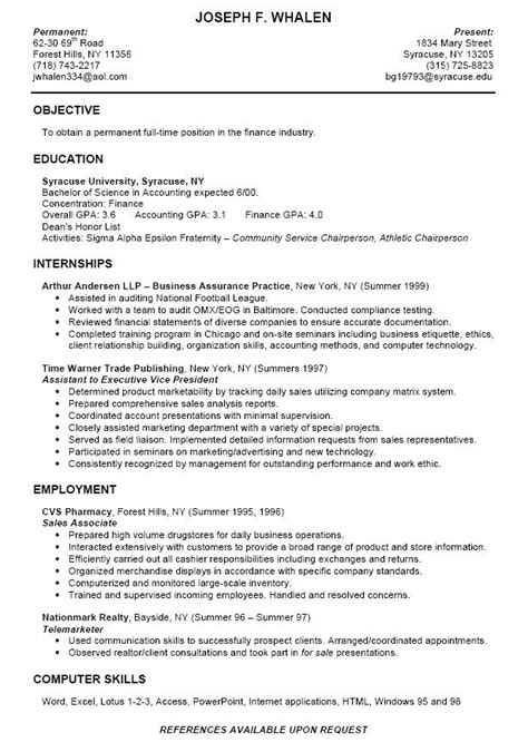 college intern resume sles college student experience dream