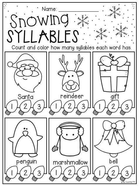 christmas syllables worksheet kindergarten grade christmas worksheets
