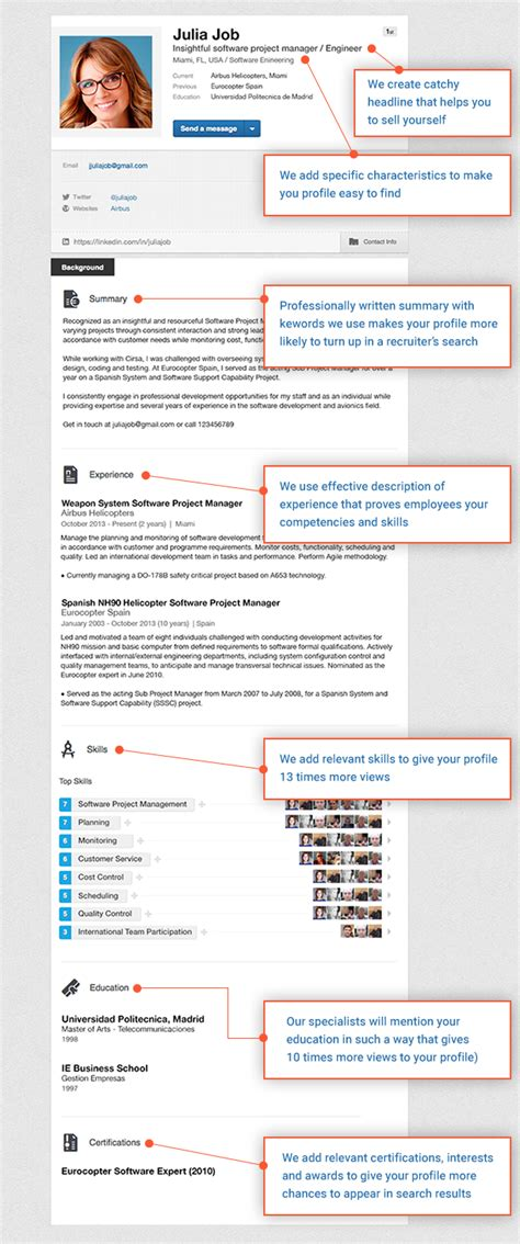 sle linkedin profile resume writing lab