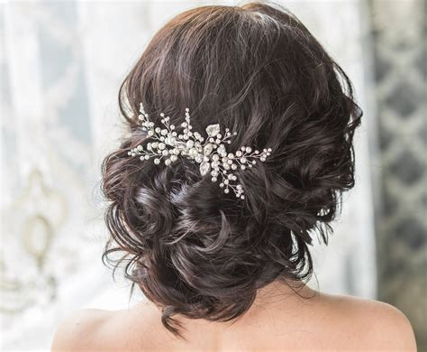 bridal hair comb swarovski pearls bridal headpiece bridal