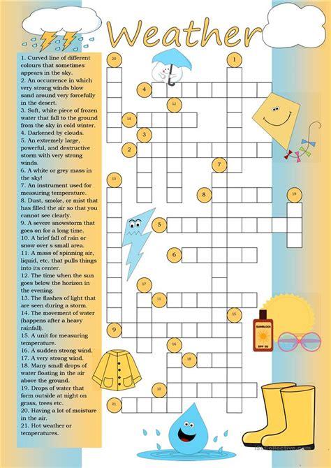 crossword weather worksheet free esl printable worksheets teachers