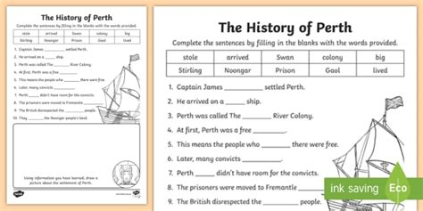 history perth cloze worksheet teacher