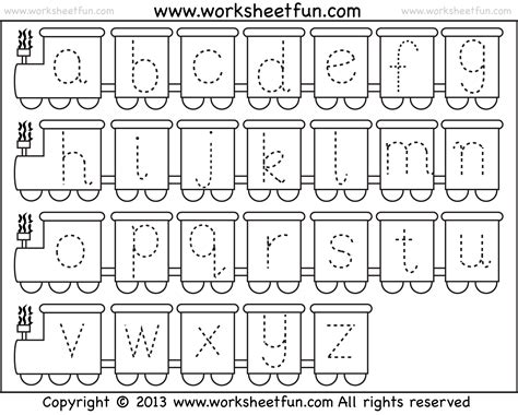 small letter tracing lowercase worksheet train free printable