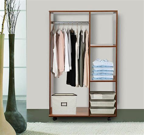 mobile open wardrobe clothes hanging rail storage shelves