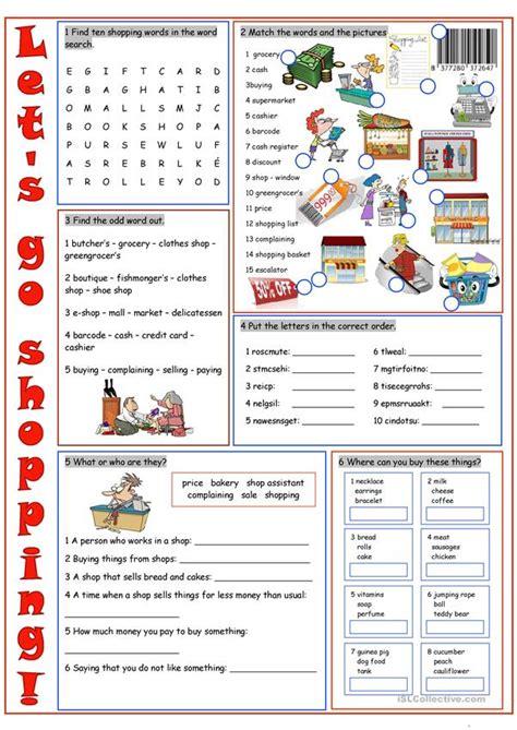shopping vocabulary exercises worksheet free esl printable worksheets