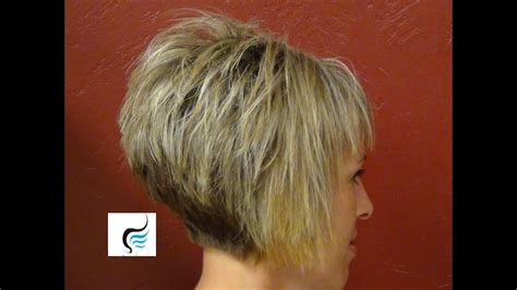 short stacked haircut straight bangs girl hairstyle youtube