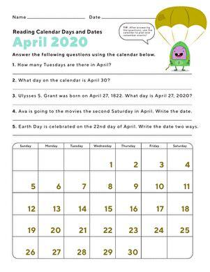day date 2nd grade calendar worksheets education
