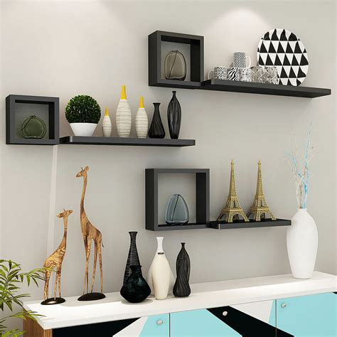 set 6 floating wall mounted shelves display storage