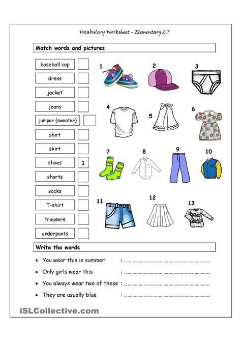vocabulary matching worksheet elementary 2 7 clothes imágenes