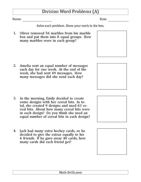 division word problems division facts 5 12 math