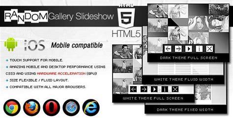 html5 random gallery slideshow grid youtube multimedia