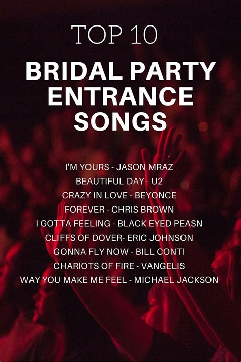 bridal party entrance songs bridal party entrance song