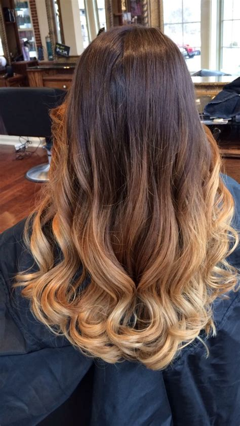 balayage ombre hair dark brown light brown blonde