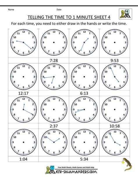 printable time worksheets telling time 1 min 4