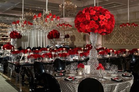 catholic ceremony luxurious red black white ballroom reception