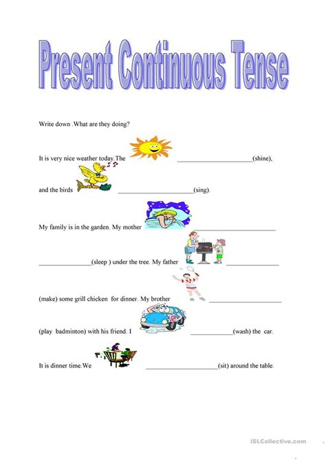 present continuous tense worksheet free esl printable worksheets