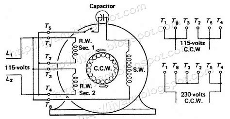electrical control circuit schematic diagram capacitor start motor
