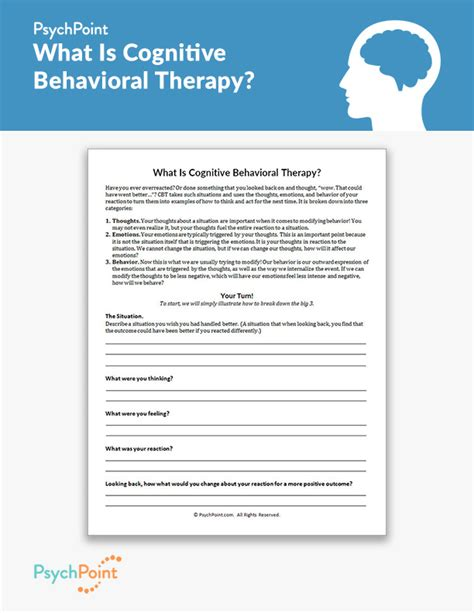 cognitive behavioral therapy worksheet psychpoint
