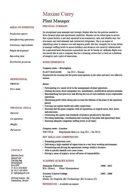 plant manager resume production job description cv sle