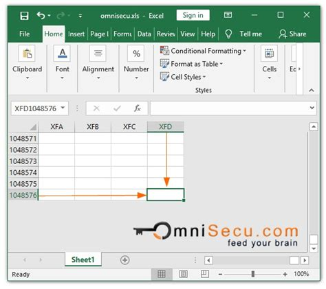 maximum rows columns excel worksheet