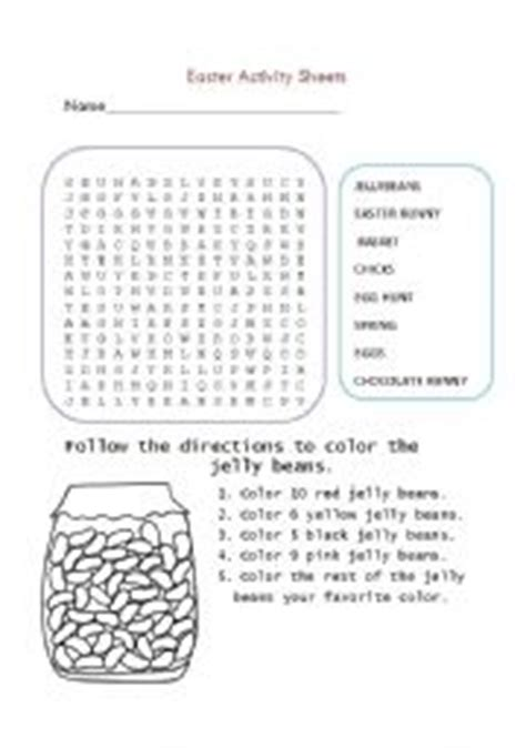 easter activity sheets editable esl worksheet skittles