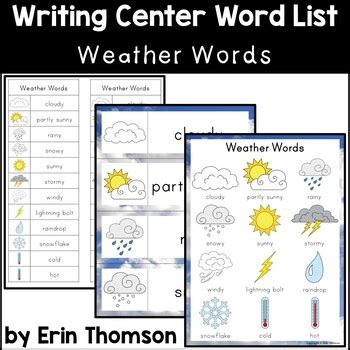 writing center word list weather words erin thomson