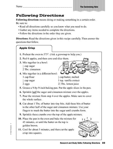 research study skills directions worksheet 2nd 3rd grade