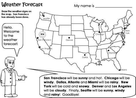 reading weather map worksheets