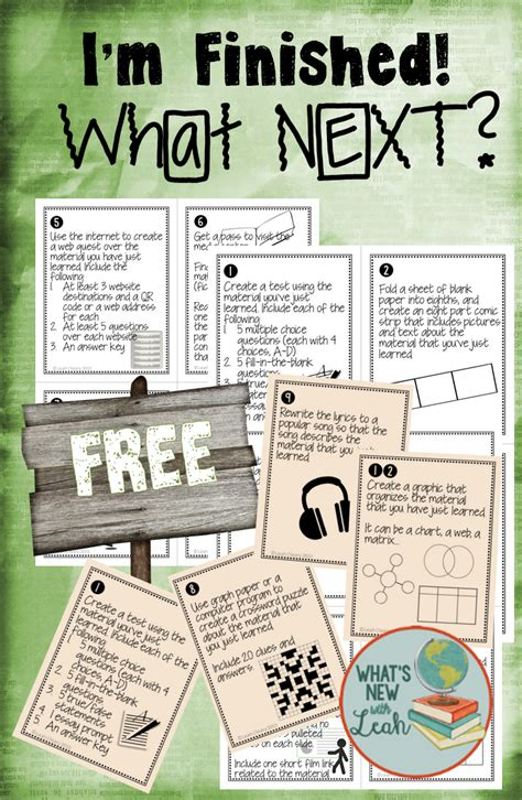 free task cards early finishers top secondary teachers