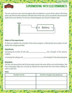 experimenting electromagnets printable science worksheets 6th grade science