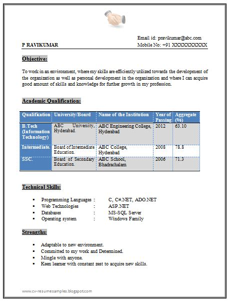 10000 cv resume sles free download tech fresher