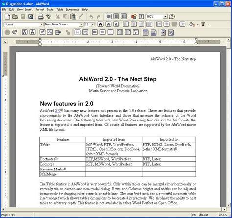 abiword free word processing program similar microsoft word