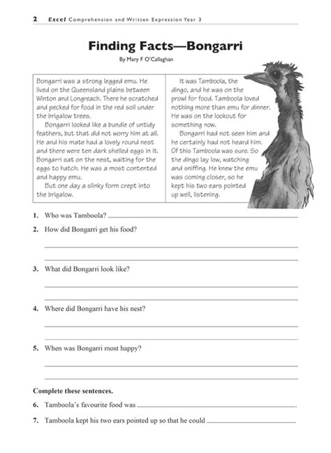 booktopia excel comprehension written expression year 3 comprehension