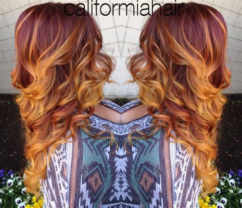 sunset ombre red hair balyage highlights orange yellow