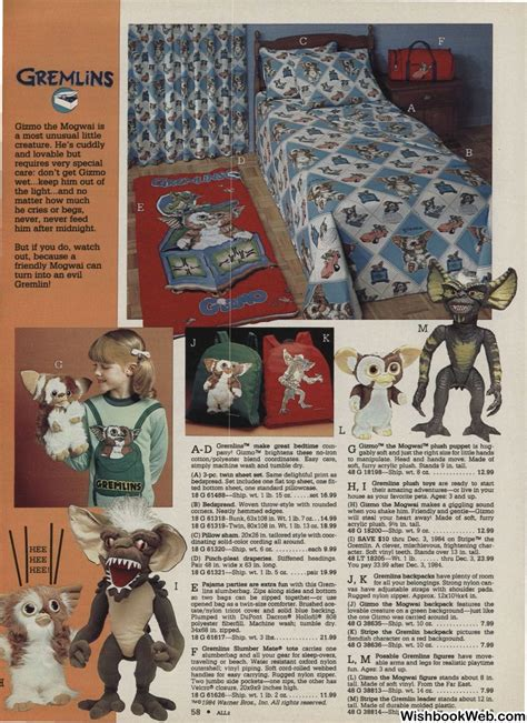 montgomery ward catalog gremlins toys backpack bed sheets