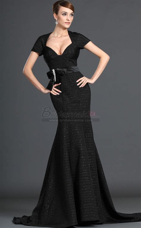 vintage long satin black mermaid bridesmaid dress short