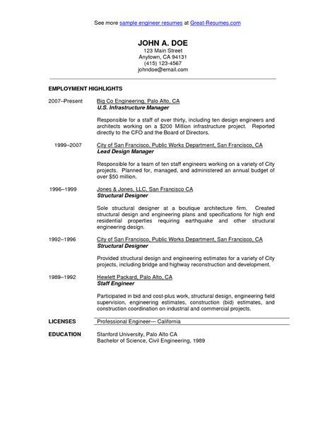 civil engineer resume sle http resumecareerfo civil engineer