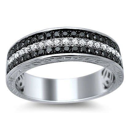 mens 55ct black white diamond pave wedding band