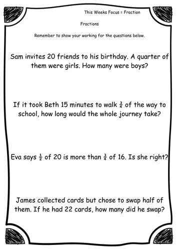 year 2 fractions fraction word problems worksheets differentiated