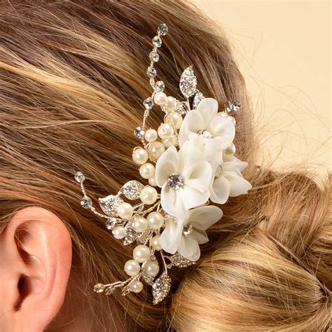 amazon side bridal comb wedding hairpiece flowers fresh