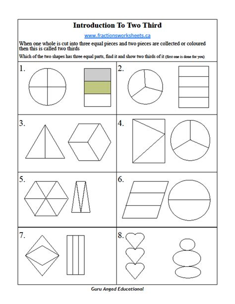 2nd grade basic fractions worksheets thirds steemit