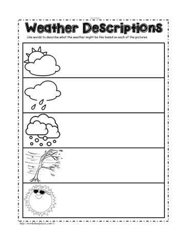 describe weather worksheets