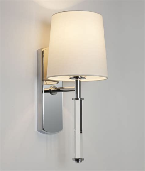 single arm wall light chrome glass shade
