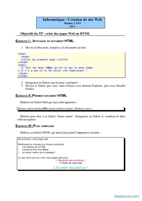 exercices html cours formation gratuit