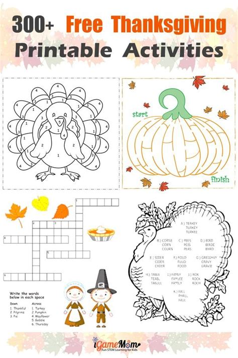 300 pages free thanksgiving printables learning