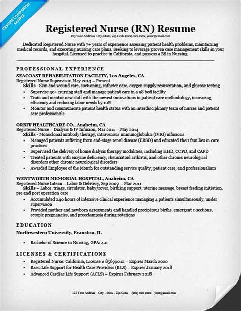 registered nurse rn resume sle tips resume companion