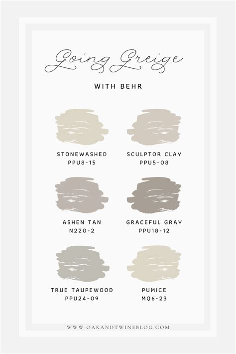 greige color palette behr greige paint farmhouse paint