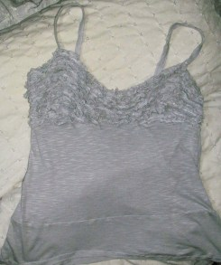 The ruffled tank, finished and ready for bedtime.